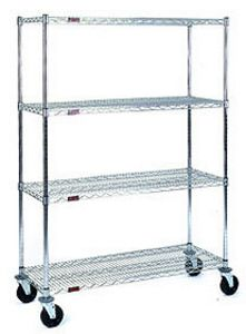 "Mobile Wire Shelving, 4 shelves, swivel/rigid, and poly tread  - 36""w x 24""d x 68""h"