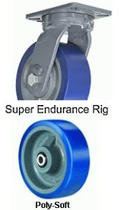 "Super Endurance Swivel Caster - 12"" x 3"" Poly-Soft Wheel, 2800 lbs Cap., Tapered Bearing"