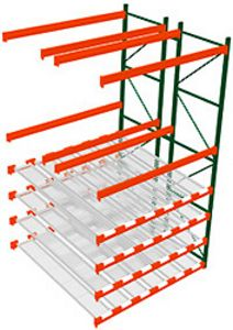 Pallet Rack w/ Flow Storage, 14H x 8W x 8D - 4 Shelves, 6 Lanes - Double Deep Adder