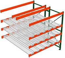 Pallet Rack w/ Flow Storage, 8H x 8W x 8D - 3 Shelves, 6 Lanes - Double Deep Adder