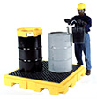 4-Drum Spill Containment Pallet - Low Profile, No Drain, Yellow