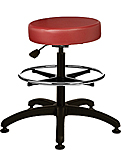 "Vinyl Upholstered Work Stool with Round Seat - 22.5"" - 32.5""H adjustable, 5-leg ABS Plastic Base, Footring"