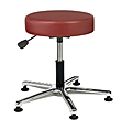 "Vinyl Upholstered Work Stool with Round Seat - 21"" - 28.5""H adjustable, 5-leg Polished Aluminum Base"