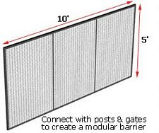 Modular Wire Barrier - Wire Mesh Panel, 10' w x 5' h