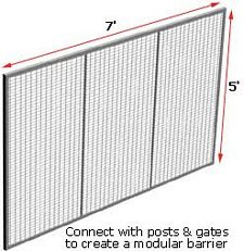 Modular Wire Barrier - Wire Mesh Panel, 7' w x 5' h