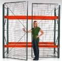 Pallet Rack Security Enclosure, 8' w x 10' h x 3' d
