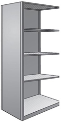 "Steel Shelving, Closed - 48"" W x 24"" D x 87"" H, 5-Shelf Adder, 400 lbs. cap., Beaded Front Post"