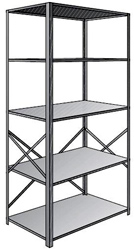 "Steel Shelving, Open - 48"" W x 36"" D x 87"" H, 5-Shelf Starter, 350 lbs. cap."