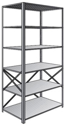 "Steel Shelving, Open - 36"" W x 24"" D x 87"" H, 6-Shelf Starter, 600 lbs. cap., Beaded Front Posts"