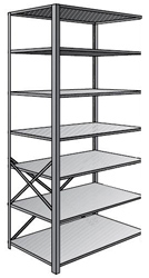 "Steel Shelving, Open - 36"" W x 12"" D x 87"" H, 7-Shelf Adder, 600 lbs. cap., Beaded Front Post"