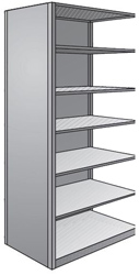"Steel Shelving, Closed - 36"" W x 24"" D x 87"" H, 7-Shelf Adder, 600 lbs. cap., Beaded Front Post"