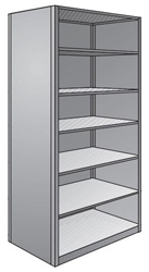 "Steel Shelving, Closed - 48"" W x 36"" D x 87"" H, 7-Shelf Starter, 350 lbs. cap., Beaded Front Posts"