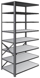 "Steel Shelving, Open - 48"" W x 18"" D x 87"" H, 8-Shelf Adder, 375 lbs. cap., Beaded Front Post"