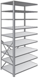 "Steel Shelving, Open - 36"" W x 30"" D x 87"" H, 9-Shelf Adder, 500 lbs. cap., Beaded Front Post"