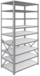 "Steel Shelving, Open - 48"" W x 12"" D x 87"" H, 9-Shelf Starter, 350 lbs. cap., Beaded Front Posts"