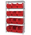 "Wire Shelving Bin System with 5 shelves & 12 Magnum Bins - 18""d x 42""w x 74""h"