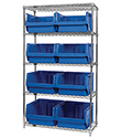 "Wire Shelving Bin System with 5 shelves & 8 Magnum Bins - 18""d x 42""w x 74""h"
