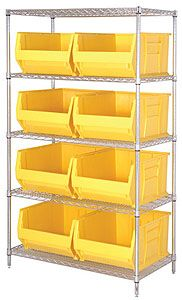 "Wire Shelving Bin System with 5 shelves & 8 Jumbo Bins - 30""d x 42""w x 74""h"