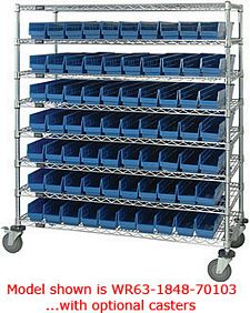 "High Density Wire Shelving System with 7 shelves & 66 bins - 24""d x 48""w x 74""h"