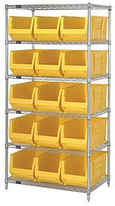 "Wire Shelving Bin System with 6 shelves & 15 Jumbo Bins - 30""d x 36""w x 74""h"