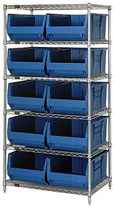 "Wire Shelving Bin System with 6 shelves & 10 Jumbo Bins - 30""d x 36""w x 74""h"