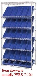 "Slanted Wire Shelving - 36""L x 18""W x 74""H with Twenty-Four 17-7/8"" x 8-3/8"" x 4"" bins"