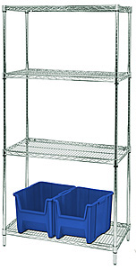 "Wire Shelving - Proform Starter, 36"" W x 24"" D x 74"" H, Four Shelves"