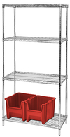 "Wire Shelving - Chrome Starter, 36"" W x 12"" D x 74"" H, Four Shelves"