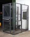 2-Wall Dock Door Security Cage - 3'W x 3'L x 8'H ; 3' Hinged Gate
