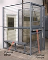 2-Wall Dock Door Security Cage - 4'W x 6'L x 8'H ; 4' Hinged Gate