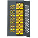 "Mesh Door Security Cabinet - 36""W x 18""D x 78""H w/ with 36 bins"