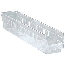 "Clear View Economy Shelf Bins - 23-5/8"" x 4-1/8"" x 4"", Carton of 16"