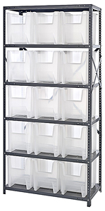 "Steel Shelving w/ 6 Shelves, 15 Clear View 17-1/2"" x 10-7/8"" x 12-1/2"" Bins"