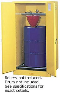 Vertical Drum Cabinet - 2 door, self-close w/ drum rollers - Sure-Grip Handle, 1: 55-gal. drum