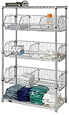 "Wire Basket Unit - 48""L x 18""W x 63""H, w/ 2 shelf levels & 3 basket levels"