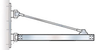 "Wall-Mounted Jib Crane, 2,000 lbs. cap., 4' Boom Length, 44""H w/ 3/8-in. Air Supply"