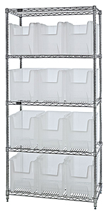 "Wire Shelving w/ 5 Shelves & 12 Clear View 17-1/2"" x 10-7/8"" x 12-1/2"" Bins"