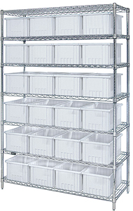 Chrome Wire Shelving w/ 7 Shelves & 20 Mixed Size Clear View Bins