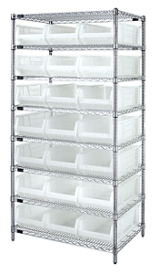 "Chrome Wire Shelving w/ 8 Shelves & 21 Clear View 23-7/8"" x 11"" x 7"" Bins"