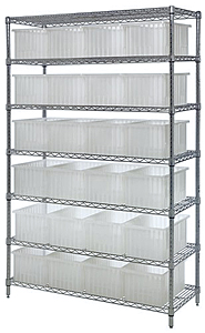 Wire Shelving w/ 24 Clear View Dividable Grid Containers - 7 Shelf