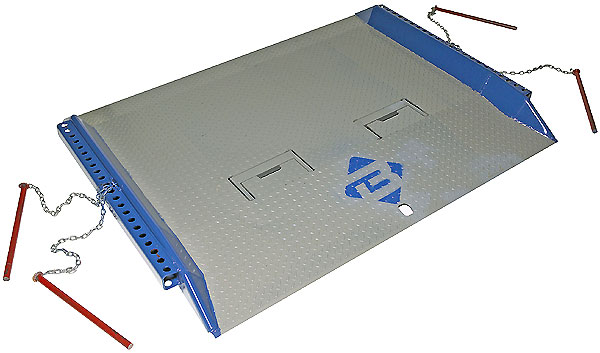 dockboard with crubs, painted edges and locking pins for stability