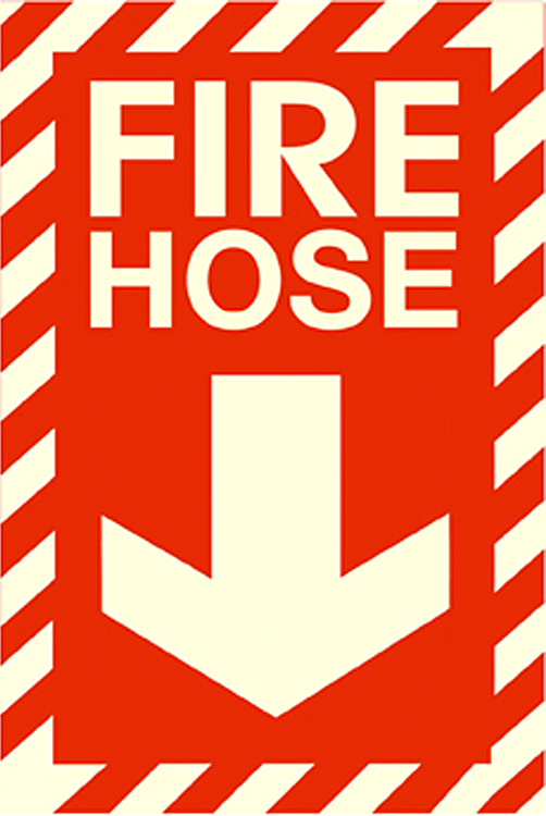 graphic relating to Printable Fire Extinguisher Sign called Stability Indicator, Fireplace HOSE, Crimson, Self-Adhesive Movie - Photoluminescent, 8\