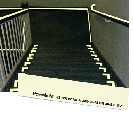 dark stairwell with photoluminescent markings