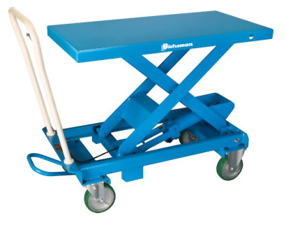 Mobile Lift Table, Single Scissor, 17 7 x 27 6 Platform, 28 8 in  Raised  Height, 330 lbs  cap