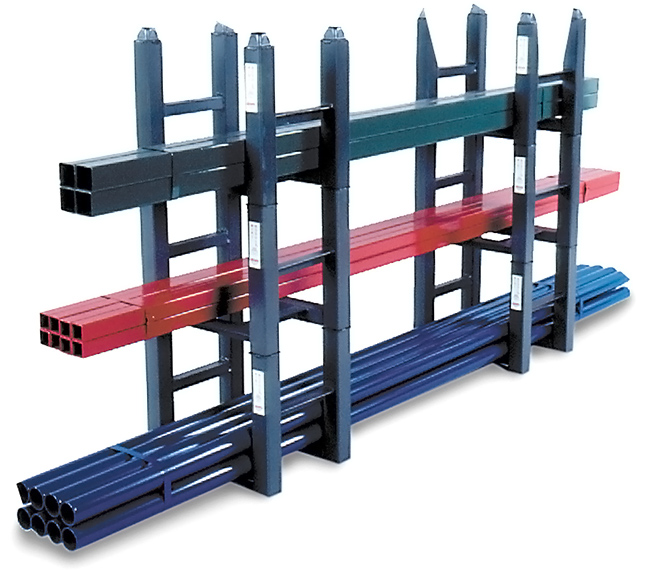 Stacking rack with pipe and tube storage