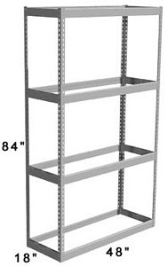 "Long Span Shelving, 48"" x 18"" x 84"" No Decking, 1000 Lbs. Cap., Starter"