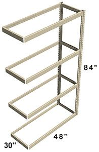 "Long Span Shelving, 48"" x 30"" x 84"" No Decking, 1200 Lbs. Cap., Adder"