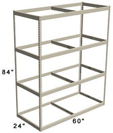 "Long Span Shelving, 60"" x 24"" x 84"" No Decking, 1200 Lbs. Cap., Starter"