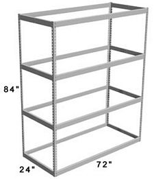 "Long Span Shelving, 72"" x 24"" x 84"" No Decking, 600 Lbs. Cap., Starter"