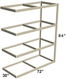 "Long Span Shelving, 72"" x 30"" x 84"" No Decking, 1000 Lbs. Cap., Adder"